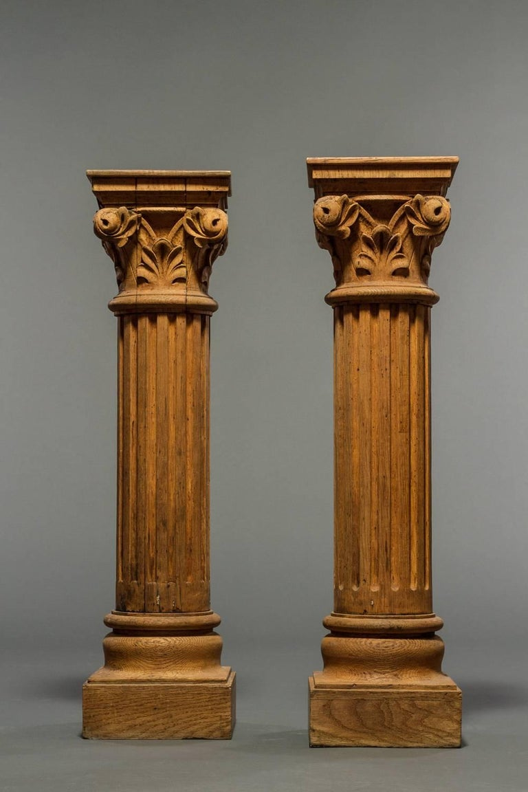 Columns For Sale >> Pair Of French Natural Wood Columns