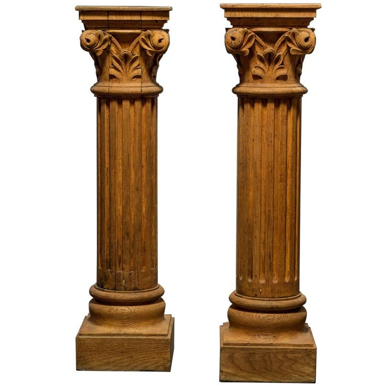 Pair of French Natural Wood Columns