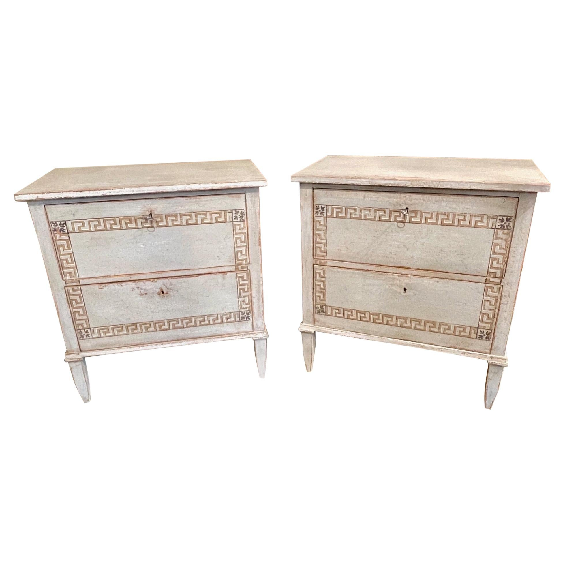 Pair of French Neo-Classical Bed Side Chests with Greek Key Design