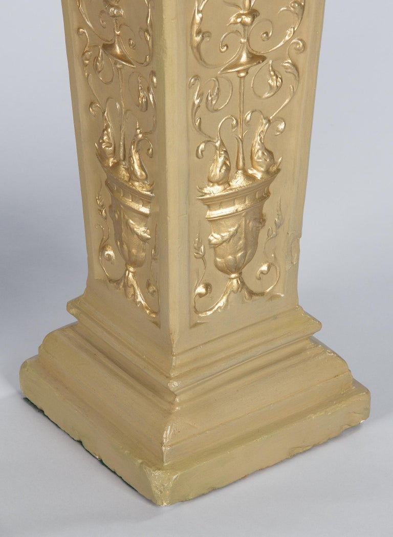 French Neoclassical Painted Plaster Pedestals, 1940s For Sale 7