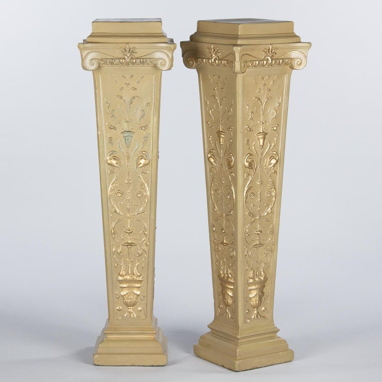 French Neoclassical Painted Plaster Pedestals, 1940s For Sale 8