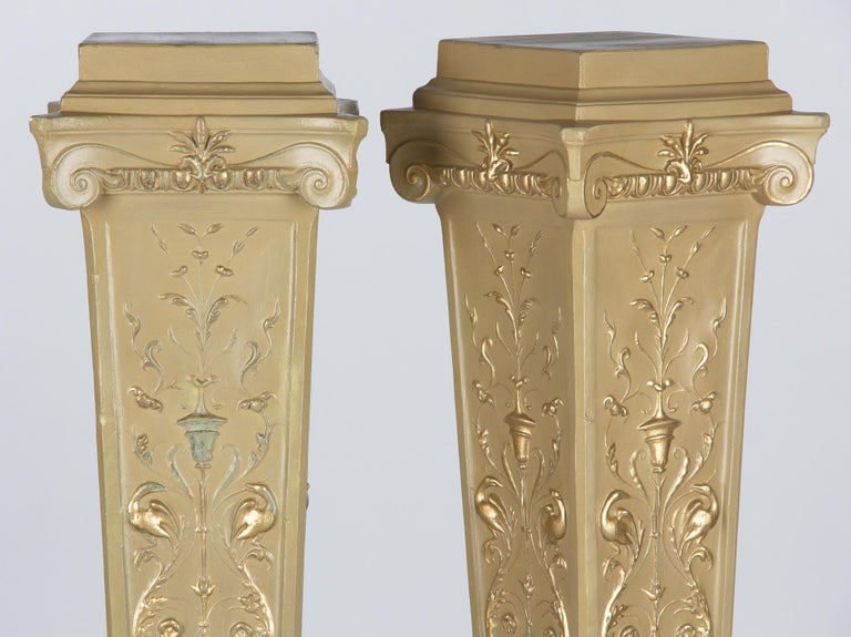 French Neoclassical Painted Plaster Pedestals, 1940s For Sale 9