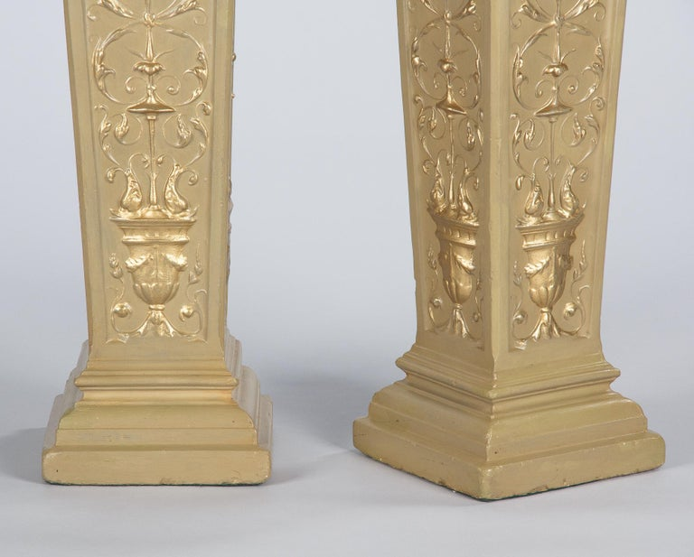 French Neoclassical Painted Plaster Pedestals, 1940s For Sale 10