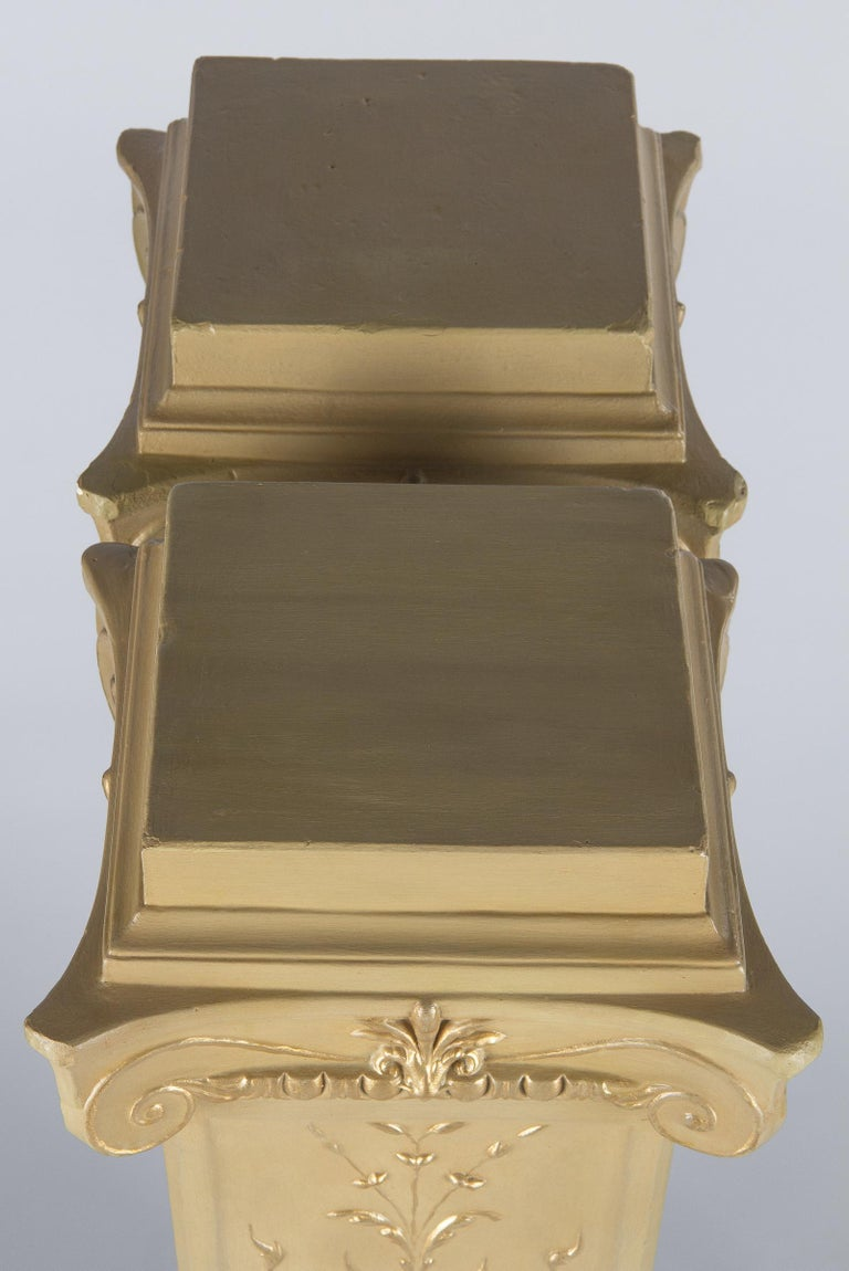French Neoclassical Painted Plaster Pedestals, 1940s For Sale 12