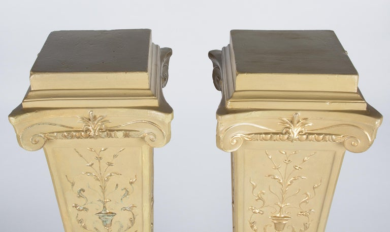 French Neoclassical Painted Plaster Pedestals, 1940s In Good Condition For Sale In Austin, TX