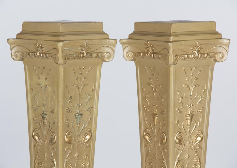 20th Century French Neoclassical Painted Plaster Pedestals, 1940s For Sale