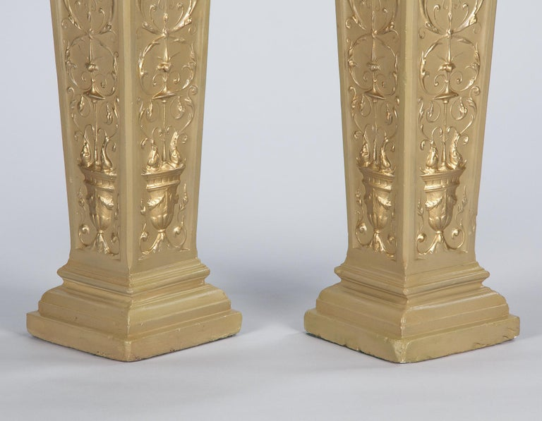 French Neoclassical Painted Plaster Pedestals, 1940s For Sale 2