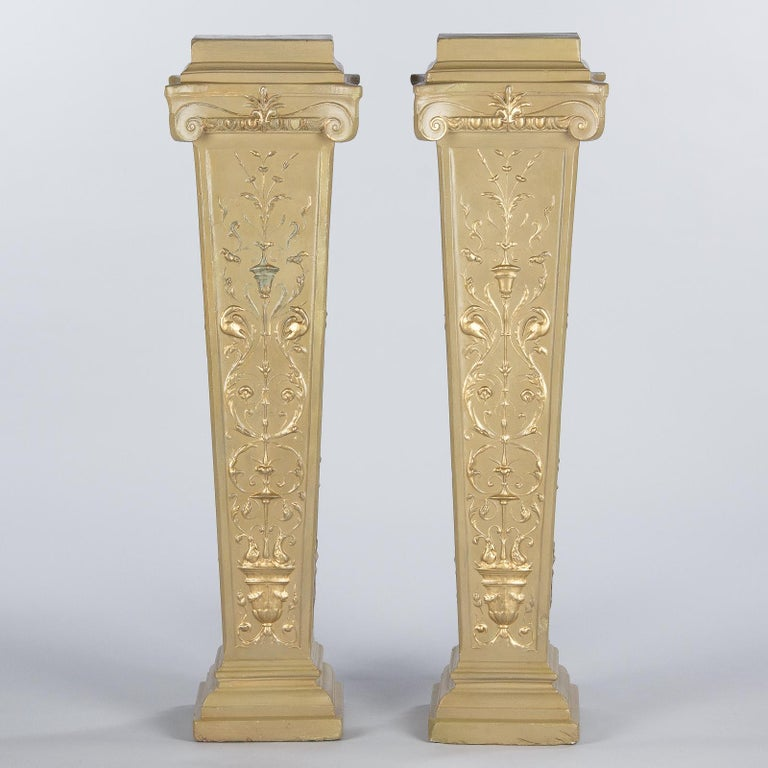 French Neoclassical Painted Plaster Pedestals, 1940s For Sale 3