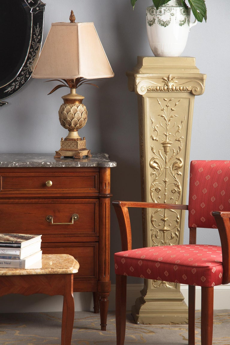 French Neoclassical Painted Plaster Pedestals, 1940s For Sale 4