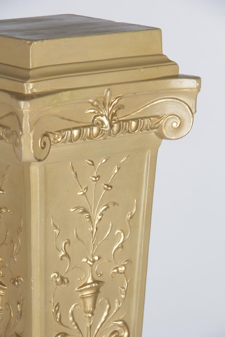 French Neoclassical Painted Plaster Pedestals, 1940s For Sale 5