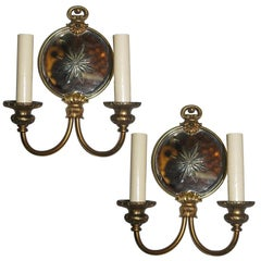 Pair of French Neoclassic Mirrored Sconces