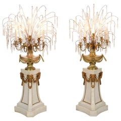 Pair of French Neoclassical Antique Marble Floor Candelabra Lamps, 20th Century