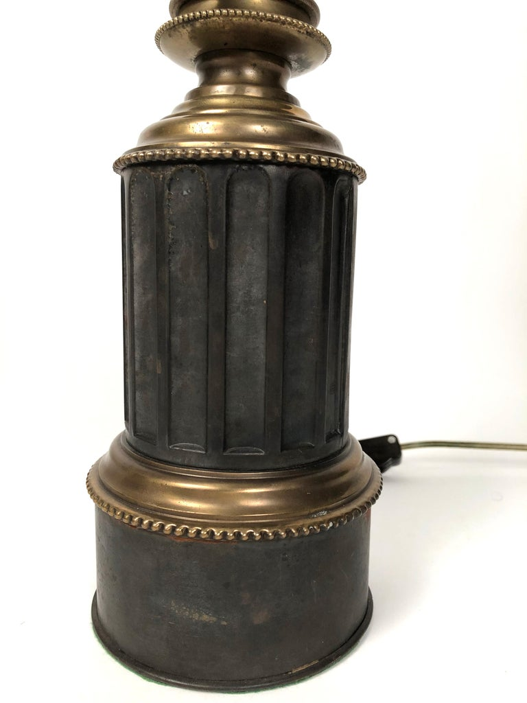 Pair of French Neoclassical Brass and Steel Lamps by Neuberger, Paris In Good Condition For Sale In Essex, MA