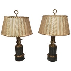 Pair of French Neoclassical Brass and Steel Lamps by Neuberger, Paris