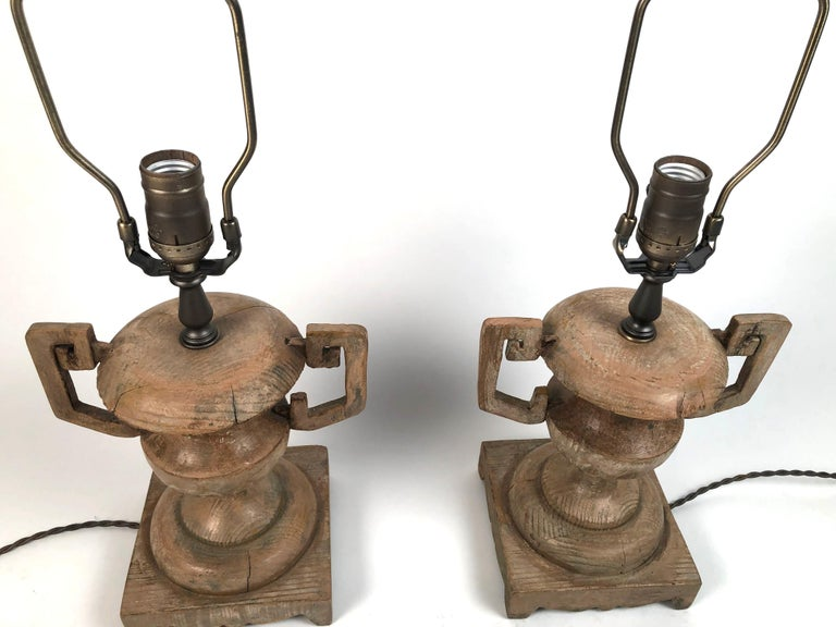 Pair of French Neoclassical Carved Wood Vase Lamps For Sale 5