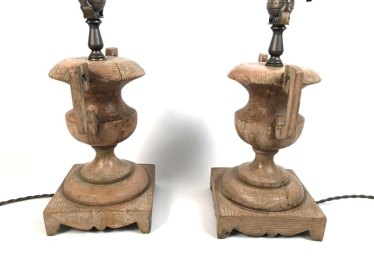 Pair of French Neoclassical Carved Wood Vase Lamps For Sale 6