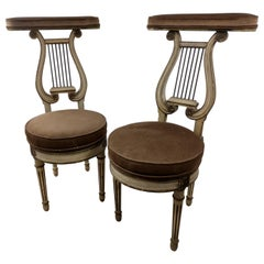 Pair of French Neoclassical Cock Fighting Chairs