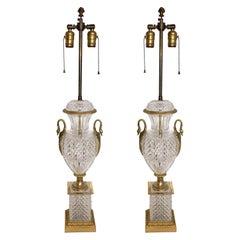 Pair of French Neoclassical Cut Crystal Urn Bronze Swan Ormolu Handles Lamps