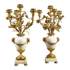 Pair of French Neoclassical Gilt Bronze Candelabra