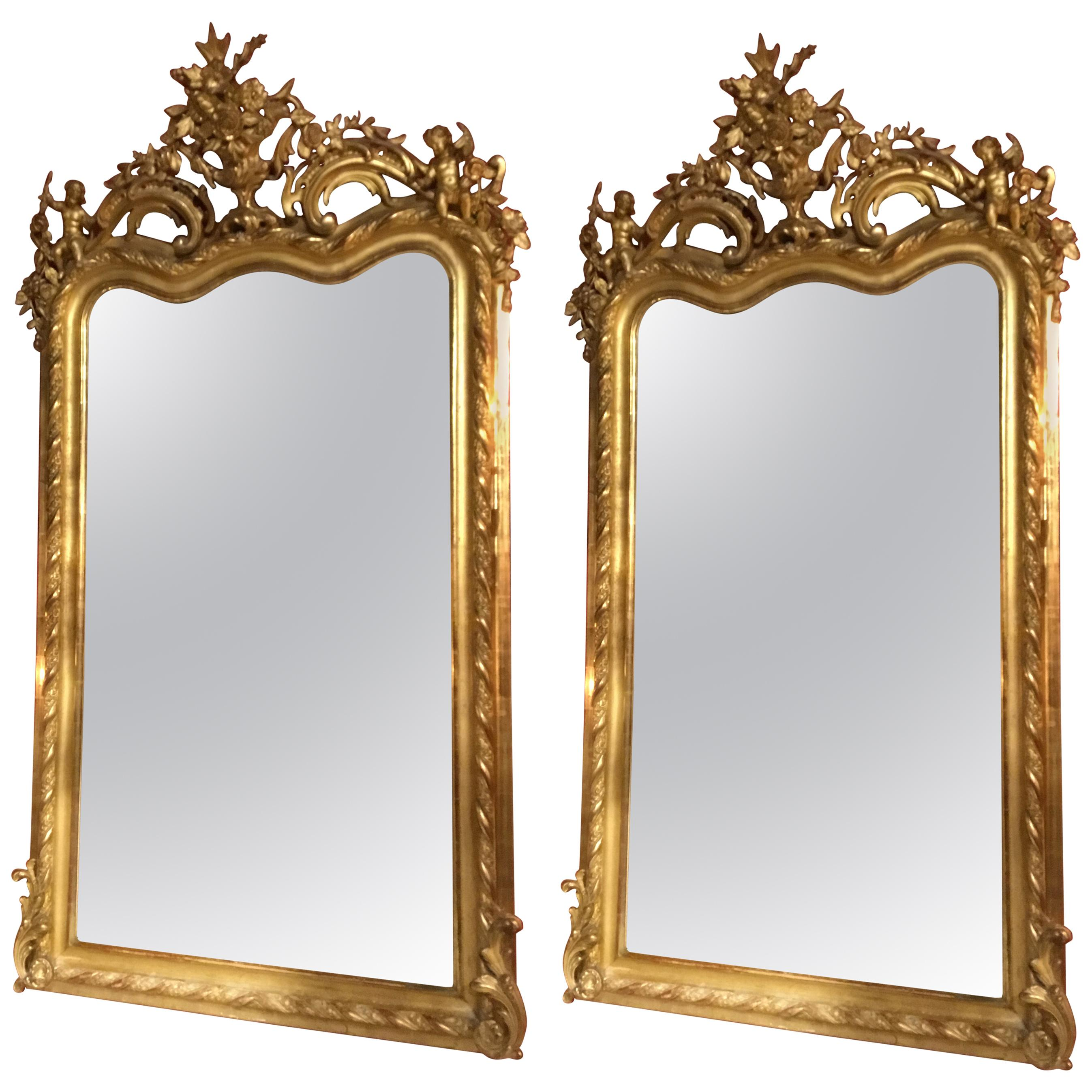 Pair of French Neoclassical Giltwood Mirrors, 19th Century