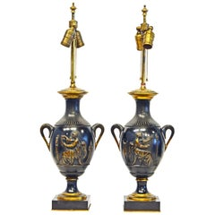 Pair of French Neoclassical Haut-Relief Decorated Patinated Bronze Table Lamps