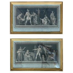 Pair of French Neoclassical Military Engravings by Pierre Michel Alix circa 1795