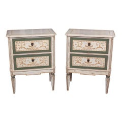 Pair of French Neoclassical Painted Nightstands