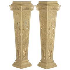 Pair of French Neoclassical Painted Plaster Pedestals, 1940s