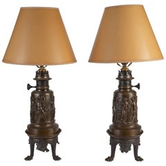 Pair of French Neoclassical Patinated Bronze Oil Lamps