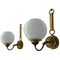 Pair of French Neoclassical Sconces in Gilt Bronze by Petitot