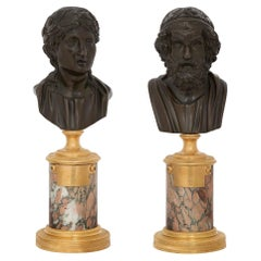 Pair of French Neoclassical Style 19th Century Patinated Bronzes