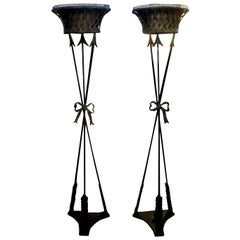 Pair of French Neoclassical Style Iron Torchères