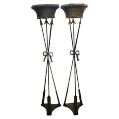 Pair of French Neoclassical Style Iron Torchieres