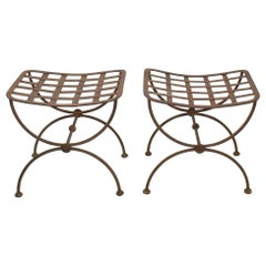 Pair of French Neoclassical Style Mid 20th Century Iron Stools or Tabourets