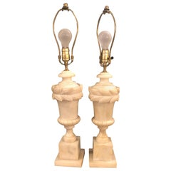 Pair of French Neoclassical Style Off-White Alabaster Urn Shaped Table Lamps