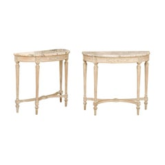 Pair of French Neoclassical Style Painted Demilunes with Marble Tops, circa 1900