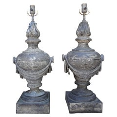 Pair of French Neoclassical Style Zinc Lamps