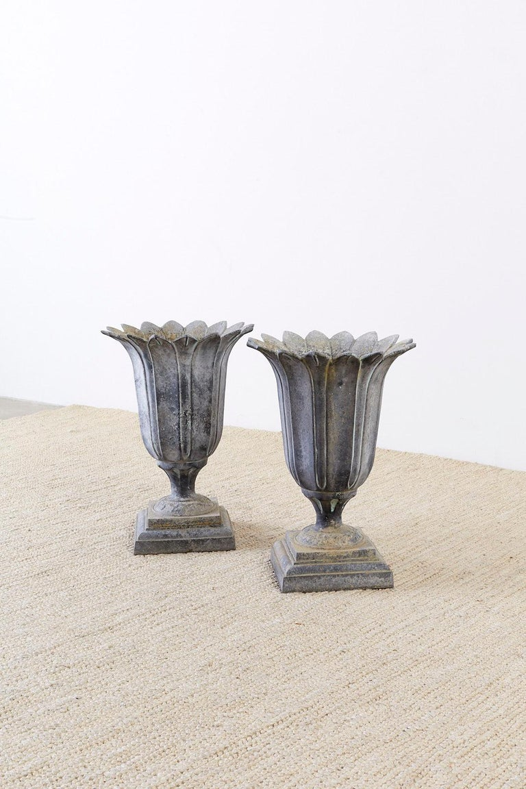 Pair of French Neoclassical Tulip Form Garden Urn Planters For Sale 5