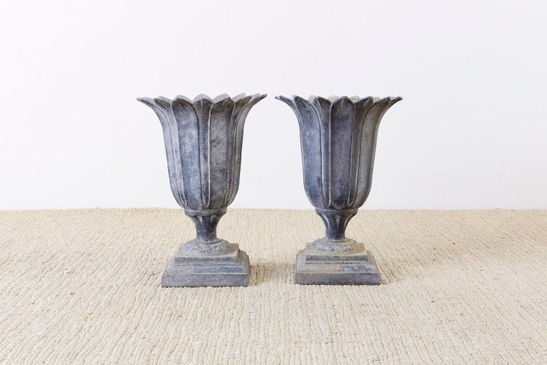 Pair of French Neoclassical Tulip Form Garden Urn Planters For Sale 7