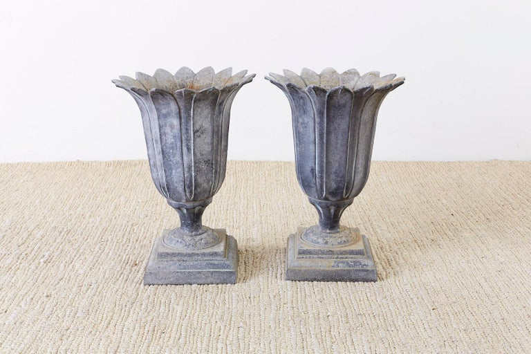 Pair of French Neoclassical Tulip Form Garden Urn Planters For Sale 8