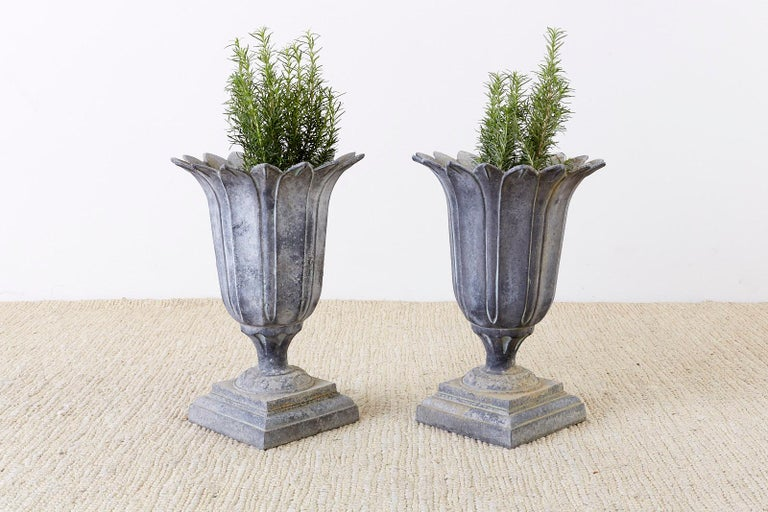 Hand-Crafted Pair of French Neoclassical Tulip Form Garden Urn Planters For Sale