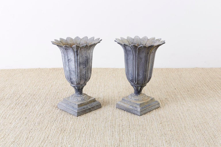Pair of French Neoclassical Tulip Form Garden Urn Planters In Good Condition For Sale In Oakland, CA