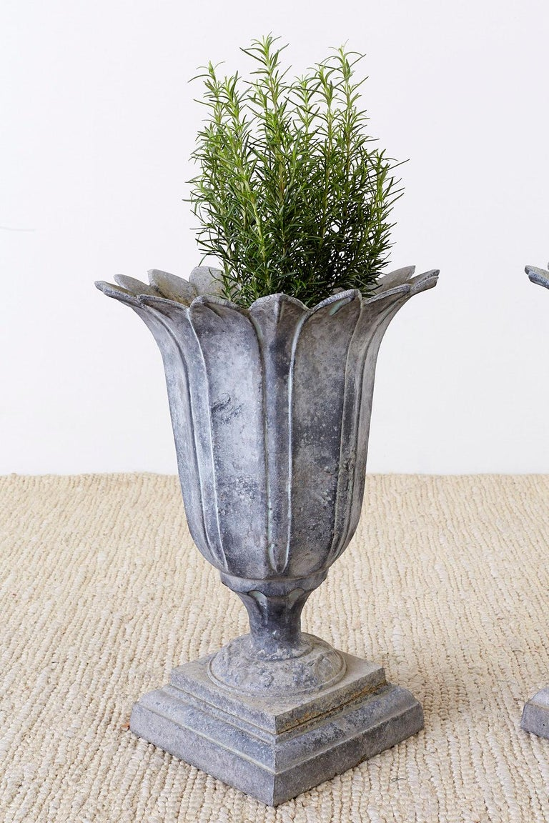 20th Century Pair of French Neoclassical Tulip Form Garden Urn Planters For Sale