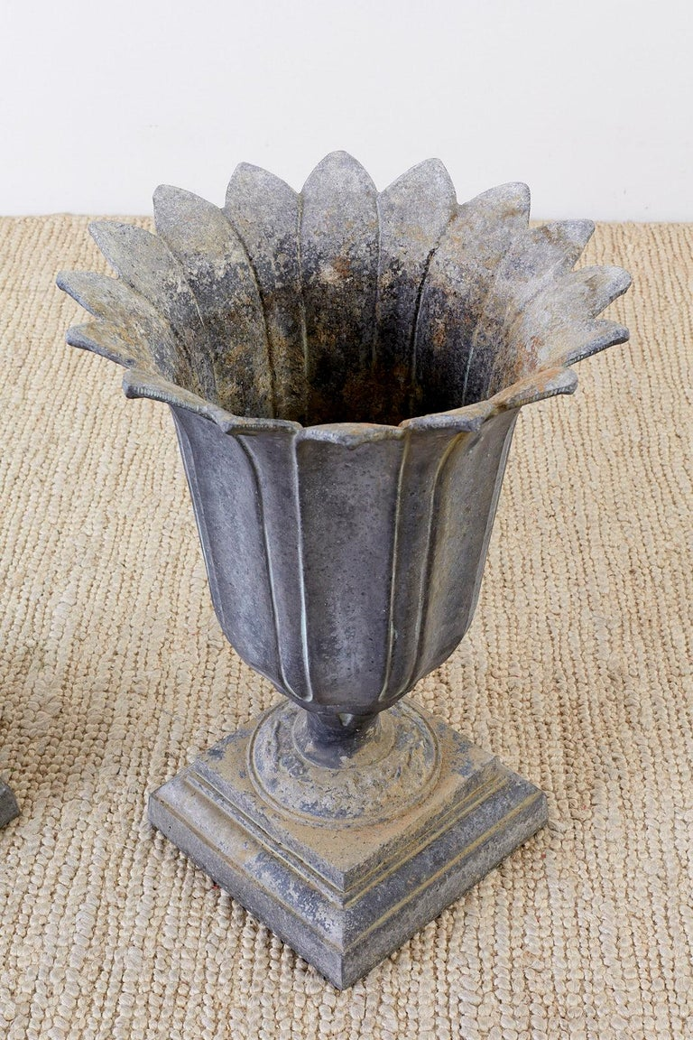 Iron Pair of French Neoclassical Tulip Form Garden Urn Planters For Sale