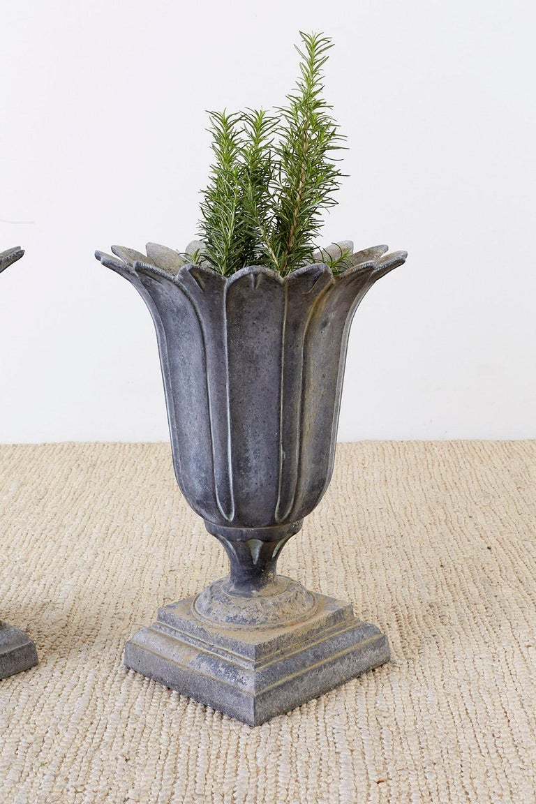 Pair of French Neoclassical Tulip Form Garden Urn Planters For Sale 1