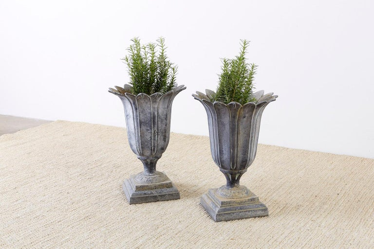 Pair of French Neoclassical Tulip Form Garden Urn Planters For Sale 3