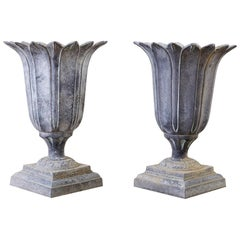 Pair of French Neoclassical Tulip Form Garden Urn Planters