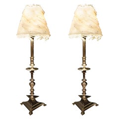 Pair of French Nickel-Plated Table Lamps