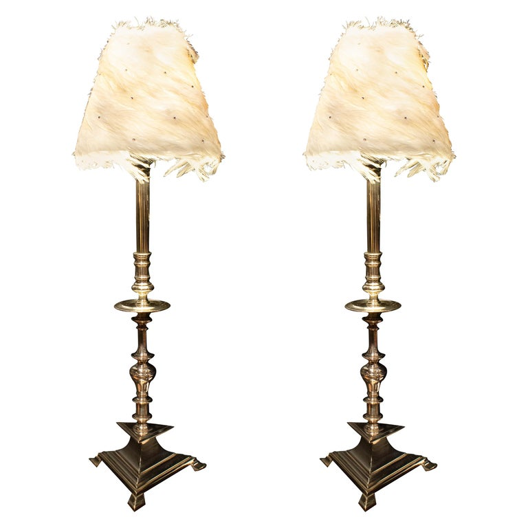 Pair of French Nickel-Plated Table Lamps For Sale