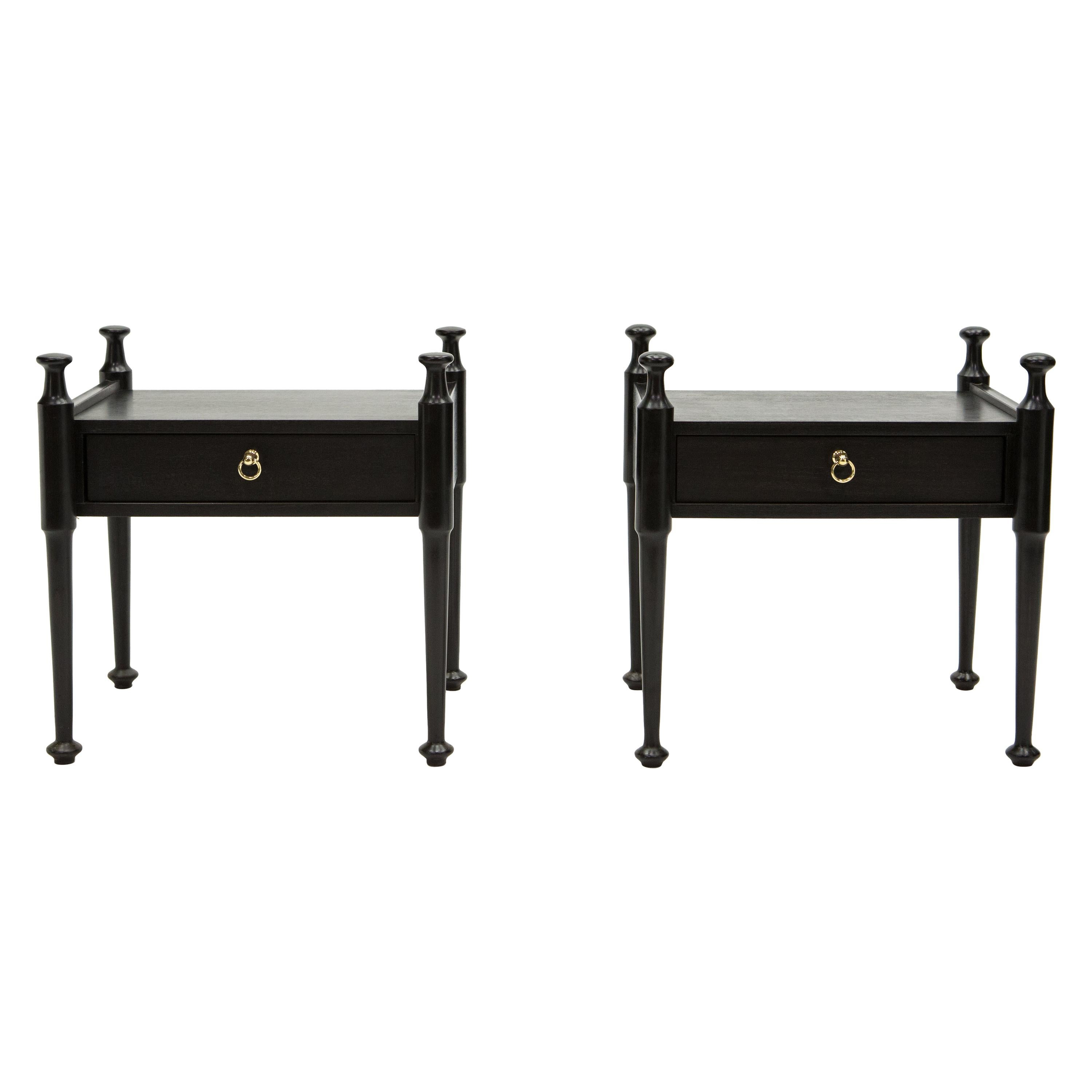 Pair of French Night Stands Black Tinted Wood and Brass, 1970s